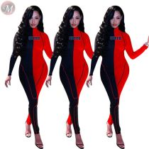 9092328 hot onsale full body contrast color long sleeve tight long sleeve trendy casual jumpsuits