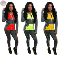 9092316 fashion contrasting color patchwork hooded sweatshirt sports Women Clothing Two Piece Sets