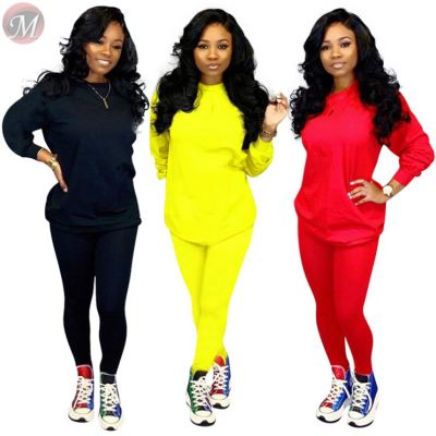 9092312 autumn solid casual sports lonf sleevr women two piece pants suit set