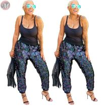 9092614 stylish casual long colorful sequins trousers high fashion women clothing high waist pants