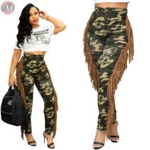 9100813 fashion casual burnt out both tassel camouflage Women High Waist Clothing Pants