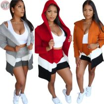 9100822 new design white vest hooded cardigan woolen Short 3 Piece Set Women Clothing