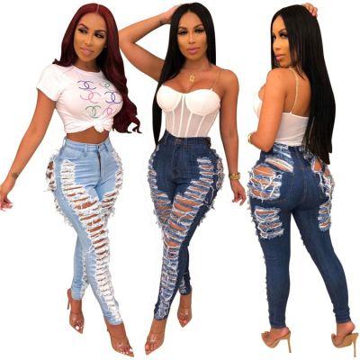 9100835 hot onsale autumn bodycon high waist fashion sexy Ladies Pants Jeans Women
