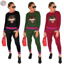 9100815 new style tiger appliques ribbon hoodie Pant Women Two Piece Outfits Set