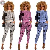 9100814 design fashion NEWS printed autumn leisure hoodie Clothing Pant Women Two Piece Set 2019