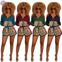 9100812 wholesale price multicolor patchwork leopard print Pant 2 Piece Women Clothing Short Set