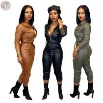 9101227 casual zipper front belt leather full length Solid Sexy Bodycon Women Jumpsuits And Rompers