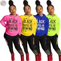 9101215 new arrival casual letter print hoodies long sleeve Women Clothing Two Piece Sets