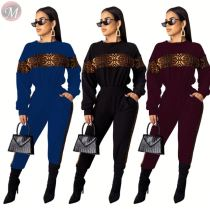 9101219 2019 fashion leopard splicing wholesale autumn Pant 2019 Women Two Piece Outfits Set