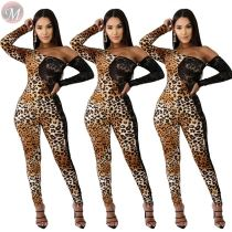 9101231 fall hot selling lace patchwork print one shoulder Leopard Mujer Bodycon Jumpsuit