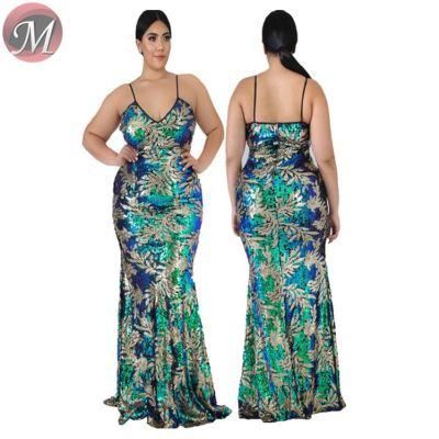 D910004 new spaghetti strap fishtail sequin party maxi 2019 Plus Size Dress Womens Fashion
