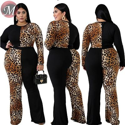 D910008 sexy leopard contrast color crop top Sets Women Two Piece Outfits Plus Size Clothing