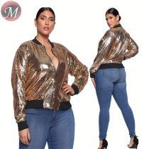 D910002 casual fashion short long sleeve sequins 2019 Plus Size Women Clothing Fashion Coat