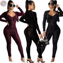 9101424 best design digital print bodycon jumpsuit short coat Two Piece Set Women Clothing