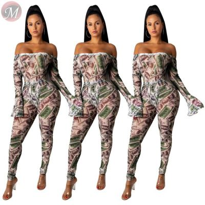 9101620 fashion casual dollar printed bodysuit trouser Outfits 2019 Two Piece Set Women Clothing