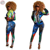9101820 new stylish colorful pattern jacket autumn Women Clothing Two Piece Pants Suit Set