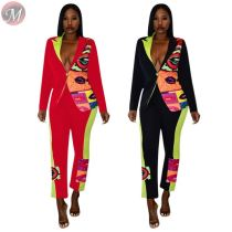 9102127 design fashion positioning print fall casual blazer women two piece pant suit clothing set