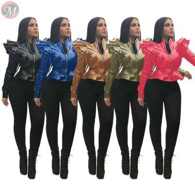 9102530 new stylish ruffle edge zipper pu leather slim latest design 2019 fashion women clothing coat jacket