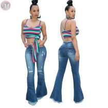 9102507 hot onsale wide leg washed ripped stretch flared Fashion Clothing Pants Women Jeans