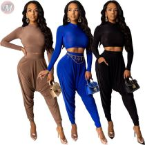 9102205 new solid color crop top harem pants bodycon Women Clothing Two Piece Sets