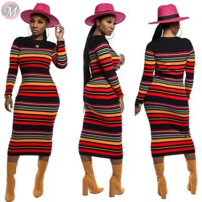 9102521 wholesale price colorful stripe rib knit casual Fashion Women Clothing Midi Hot Sale Dress