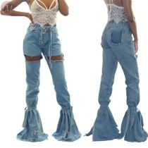 9102508 latest design ripped bandage splicing flared High Waist Women Pants Jeans
