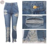 9102506 new all-match distressed ripped straight High Waist Pants Jeans Women