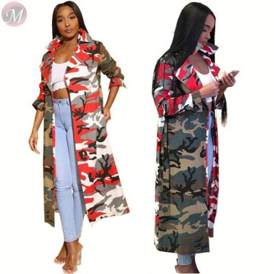 9102201 new style tailored collar camo print pockets belt long latest design 2019 women fashion clothing coat