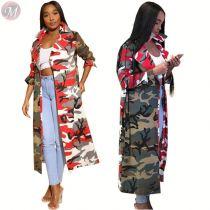 9102201 new style tailored collar camo print pockets belt long latest design 2019 women fashion clothing coat