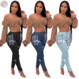 9101809 2019 sexy washed ripped streetwear tassels High Waist Women Pants Jeans