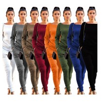 9102409 fashion pure color knitted casual autumn Pant 2019 Women Two Piece Outfits Set