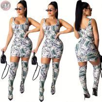 9110131 best seller dollar print bodycon dress thigh high sock Dress Clothing Women Two Piece Set 2019