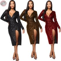 9110135 newest design v neck side zipper party club sequins Ladies Fashion Sexy Bodycon Hot Sale Dress