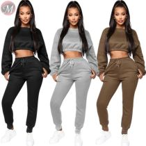 9110134 hot sale sold color fleece crop hoodie pockets leisure Clothing Pant Women Two Piece Outfits Set