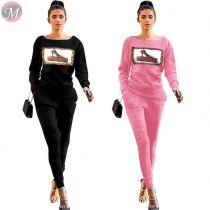9110133 fashion round neck rib knitted solid top and pant Outfits Clothing Women Two Piece Set 2019