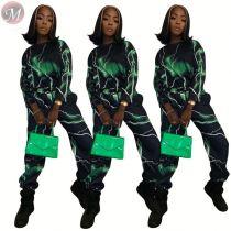 9110109 hot casual digital print lightning straight leg 2019 Pant Clothing Women Two Piece Set