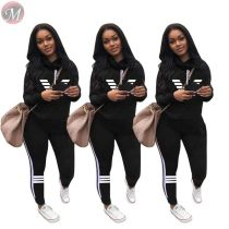 9110108 wholesale solid color stripe spliced hoodie pants Two Piece Set Women Clothing