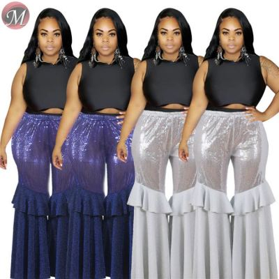 D910016 good quality ruffle splicing wide leg sequins 2019 Womens Fashion Clothing Plus Size Pants