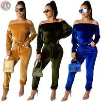 9110132 new solid suede off shoulder pocket fall long Pants Suit Women Set 2019 Fashion Two Piece