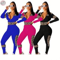 9110509 latest design leopard spliceing solid hooded sports 2019 Clothing Two Piece Pant Set Women