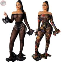 9102520 high quality floral print sexy perspective flared bodysuit 2019 Woman Two Piece Pants Suit Set