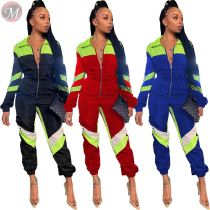 9110423 fashion new turndown collar solid patchwork sport long sleeve trendy casual jumpsuits