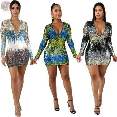 9102510 night club v-neck long sleeve sequin Sexy Bodycon Women High Fashion Clothing Dress