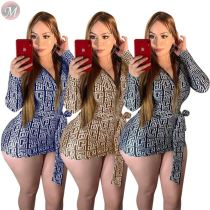 9110520 autumn geometric print v neck belt wrap hip Long Sleeve Mini Hot Sale Sexy Bodycon Dress