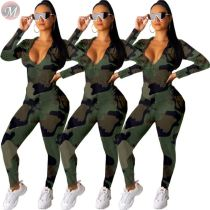 9110510 new arrival hooded zipper camouflage leisure 2019 Woman Two Piece Pants Suit Set