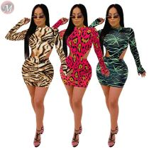 9110532 wholesale new printed long sleeve bodysuit club bodycon Skirt 2 Piece Set Women Clothing
