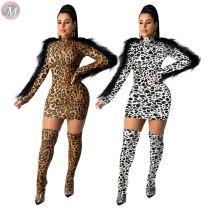 9110517 fashion leopard print feather long sleeve mini Sexy Bodycon Hot Sale Latest Casual Dress Designs