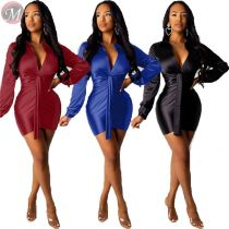 9110104 fashion new long sleeve v neck pleated bodycon Women Solid Fashion Casual Dresses
