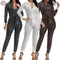 9110615 casual zipper front drawstring night club wear sequins long sleeve trendy casual jumpsuits
