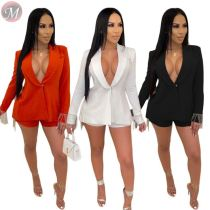 9102326 fall solid long sleeve tassel back blazer suit 2019 Short Women Two Piece Outfits Set